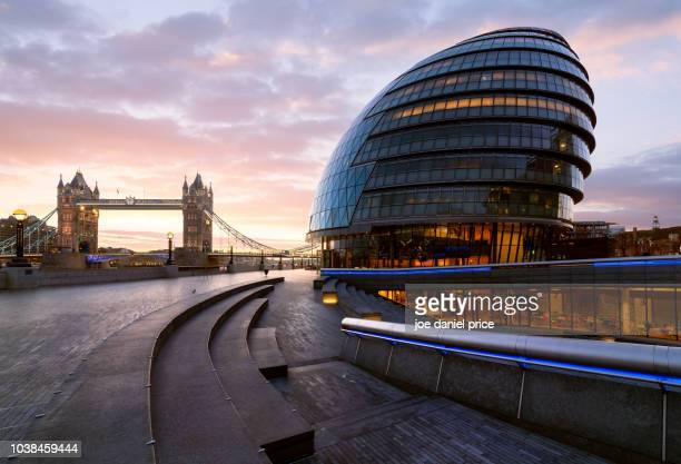 dramatic sunrise, city hall, tower bridge, london, england - politics stock pictures, royalty-free photos & images