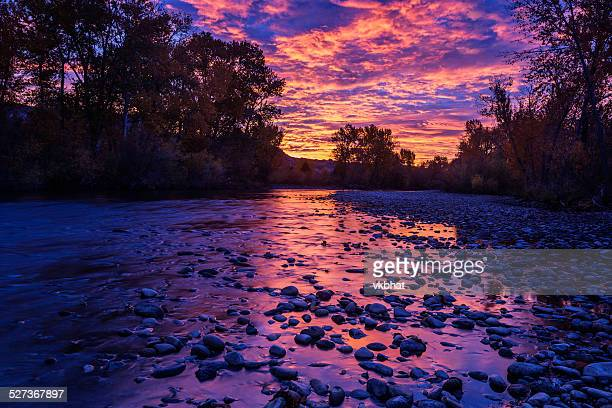 dramatic sunrise over boise river - boise idaho stock pictures, royalty-free photos & images