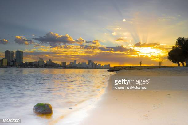 Dramatic sunrise over the city of Perth, Australia
