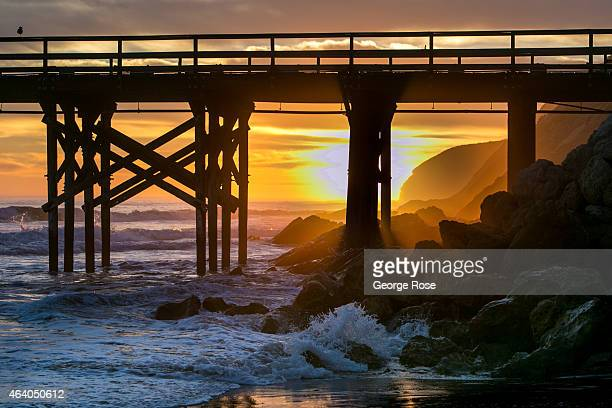 A dramatic sunset along the beach at Gaviota State Beach ends another warm day on February 10 near Santa Barbara California Because of its close...