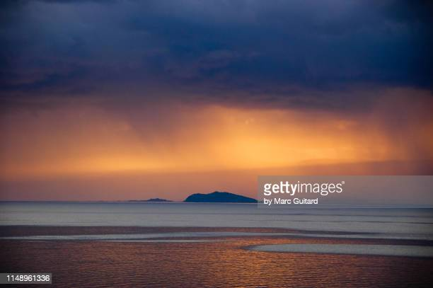 Dramatic sunset and storm clouds over Lake Baikal, Siberia, Russia