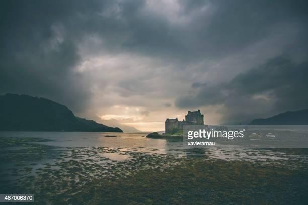 Dramatic sunset in Eilean Donan castle