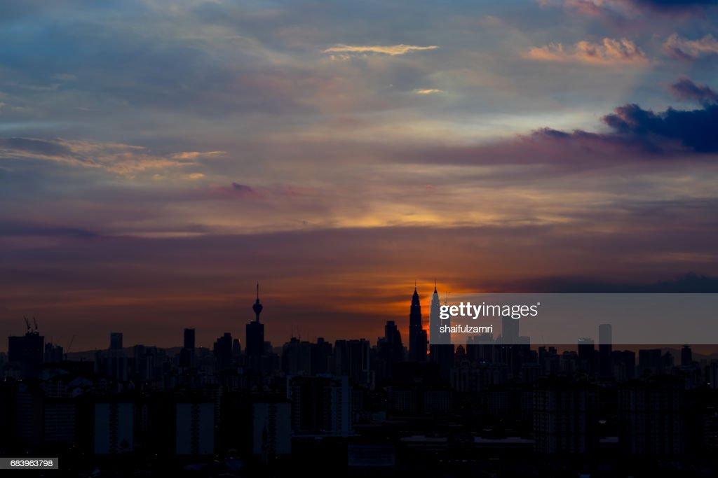 Dramatic sunset in Kuala Lumpur : Stock Photo