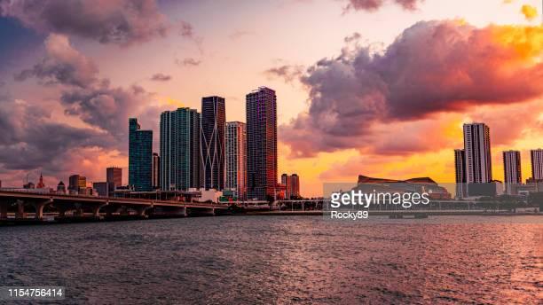 Dramatic Sunset in Miami, Florida, at Biscayne Boulevard as Seen from Venetian Causeway Bridge