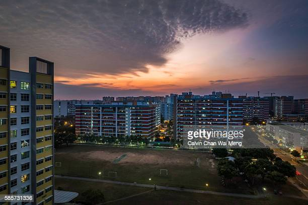 Dramatic sunset in Singapore east side residential estate - Tampines