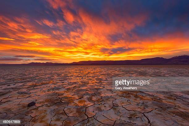 Dramatic sunset over Alvord Desert, Oregon, USA