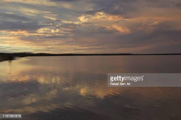 dramatic sunset over inlet in port augusta south australia - rafael ben ari bildbanksfoton och bilder