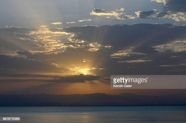 Dramatic sunset over Lake Tana, Ethiopia.