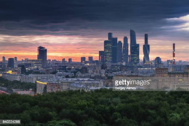 Dramatic sunset over skyline of Moscow