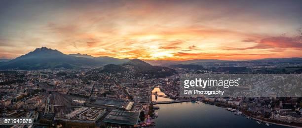 Dramatic Sunset photo of Lucerne city, Switzerland