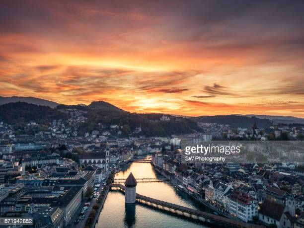 Dramatic Sunset photo of Lucerne city, Switzerland