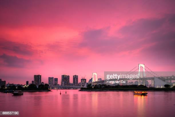 Dramatic Sunset with Rainbow Bridge and Tokyo Cityscape