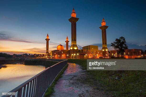 Dramatic Sunset With Vibrant Color Over Mosque (Masjid Tengku Ampuan Jemaah).