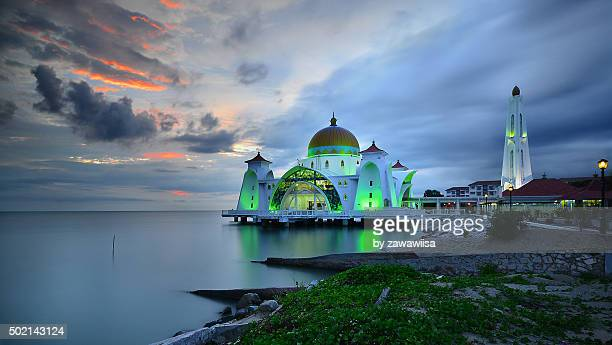 Dramatic Sunset With Vibrant Color Over Mosque (Masjid Selat Melaka).Strait Of Malacca.