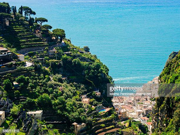 Dramatic terraced hillsides on the Amalfi coast, Italy