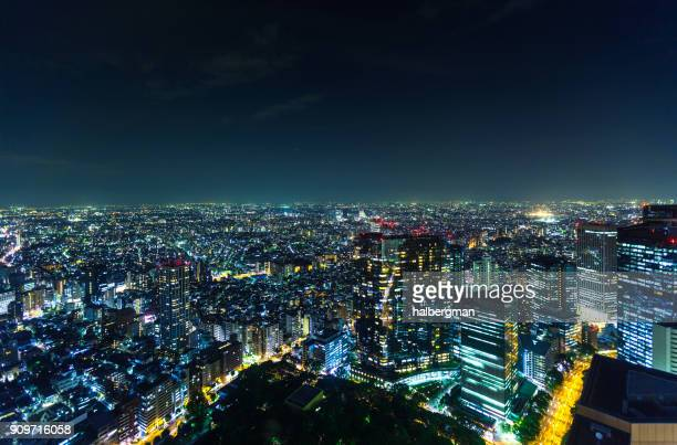 Dramatic View From High Above Tokyo at Night