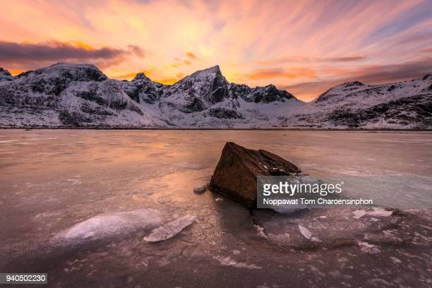 Dramatic view of mountain range in Lofoten islands during sunset, Scandinavia, Northern Europe
