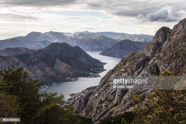 dramatic view over the kotor bay in montenegro - kotor bay stock pictures, royalty-free photos & images