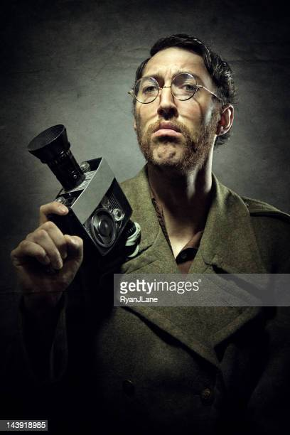 Dramatic Vintage Portrait of Man with Video Camera