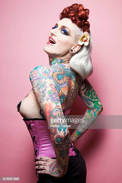 dramatic woman with tattoos - x rated stock pictures, royalty-free photos & images