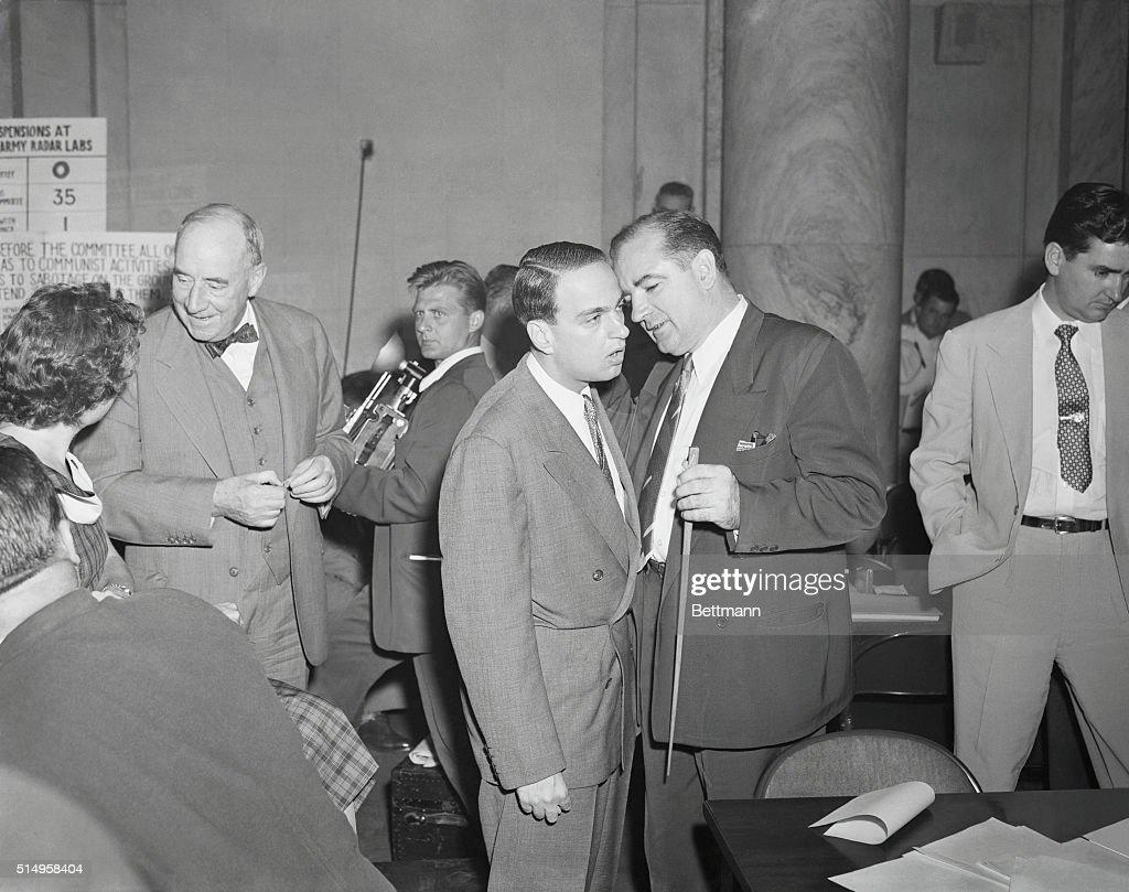 Joseph R. McCarthy Chatting with Roy Cohn : News Photo