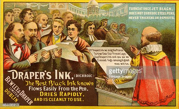 Draper's Ink, Bewley & Draper Limited, Dublin, c.1875. This advertisement illustrates a hall of literary fame including Geoffery Chaucer , John...