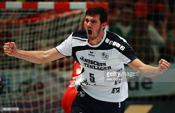 Drasko Nenadic of FlensburgHandewitt celebrates a goal during the DKB Handball Bundesliga match between MT Melsungen and SG FlensburgHandewitt at...