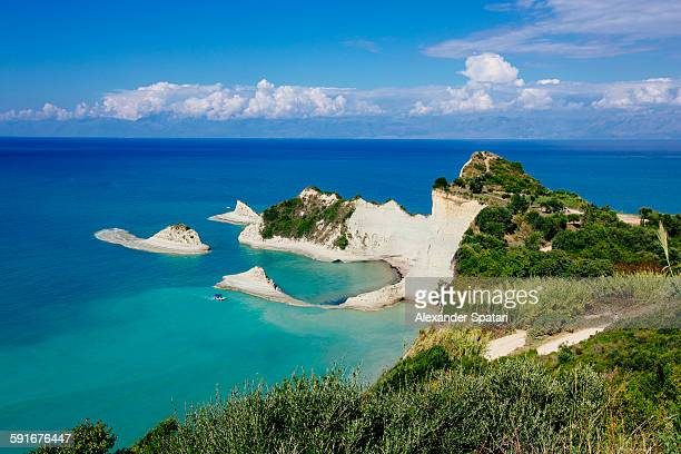 drastis cape cliffs, corfu island, greece - corfu stock pictures, royalty-free photos & images