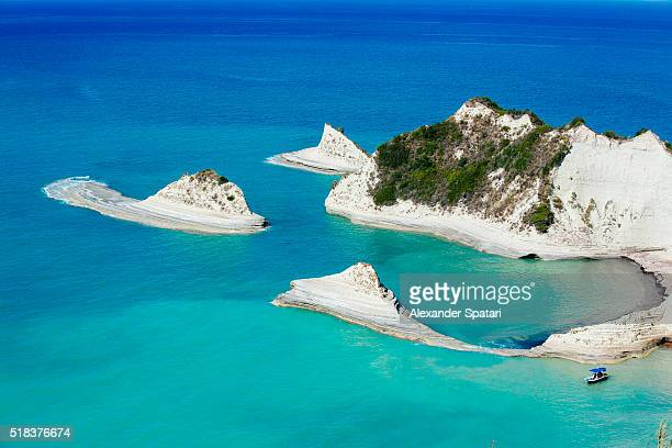 drastis cape on corfu island, ionian islands, greece - mar jónico fotografías e imágenes de stock