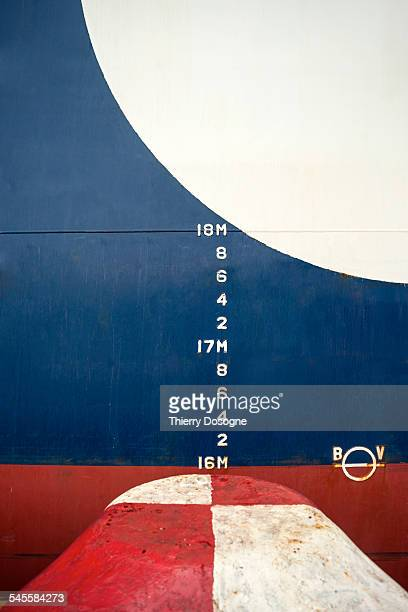 Draught marks on container ship