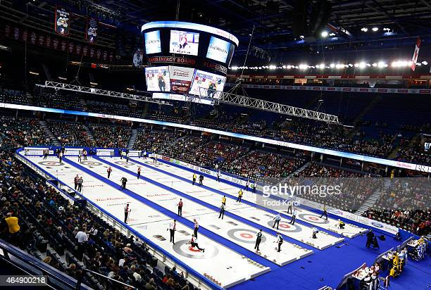 Draw 4 of the Canadian Men's Curling Championships takes place during the Tim Horton's Brier at the Scotiabank Saddledome on March 1 2015 in Calgary...