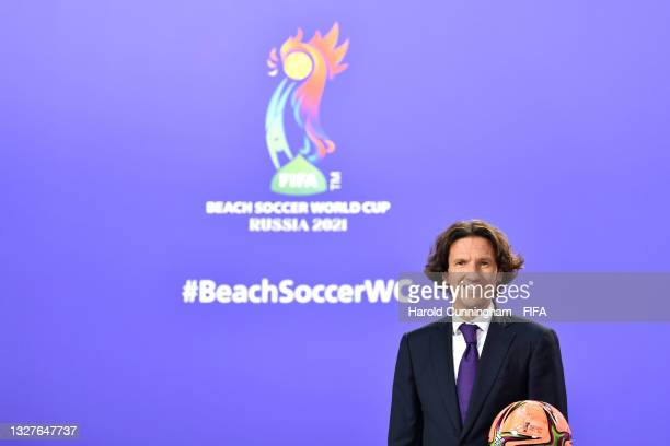 Draw Assistant Alexey Smertin during the FIFA Beach Soccer World Cup Russia 2021 draw at the Home of FIFA on July 08, 2021 in Zurich, Switzerland.