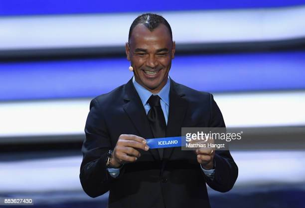 Draw assistant Cafu draws Iceland during the Final Draw for the 2018 FIFA World Cup Russia at the State Kremlin Palace on December 1 2017 in Moscow...