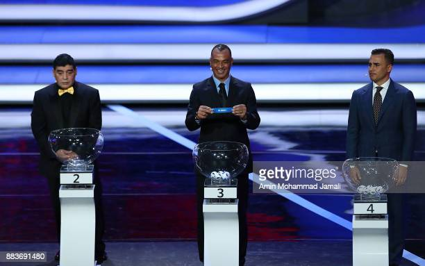 Draw assistant Cafu draws Iran during the Final Draw for the 2018 FIFA World Cup Russia at the State Kremlin Palace on December 1 2017 in Moscow...