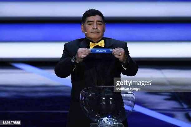 Draw assistant Diego Maradona draws England during the Final Draw for the 2018 FIFA World Cup Russia at the State Kremlin Palace on December 1 2017...