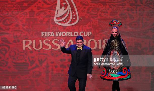 Draw assistant Diego Maradona reacts during the Final Draw for the 2018 FIFA World Cup Russia at the State Kremlin Palace on December 1 2017 in...