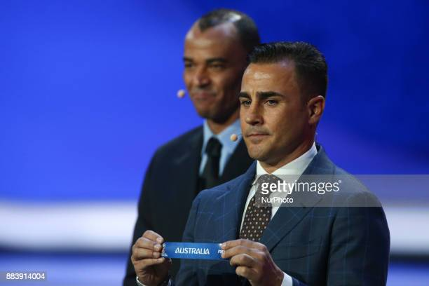 Draw assistant Fabio Cannavaro draws Australia during the Final Draw for the 2018 FIFA World Cup Russia at the State Kremlin Palace on December 1...