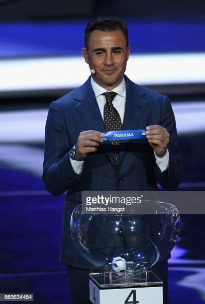 Draw assistant Fabio Cannavaro draws Panama during the Final Draw for the 2018 FIFA World Cup Russia at the State Kremlin Palace on December 1 2017...