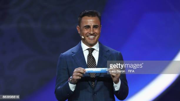 Draw assistant Fabio Cannavaro draws Serbia during the Final Draw for the 2018 FIFA World Cup Russia at the State Kremlin Palace on December 1 2017...
