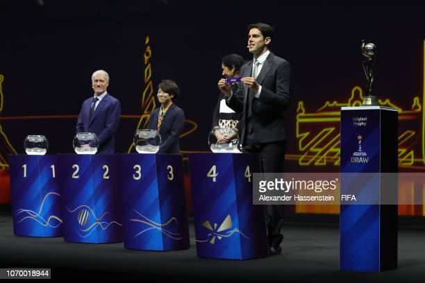 Draw assistant Kaka picks out Chile during the FIFA Women's World Cup France 2019 Draw at La Seine Musicale on December 8 2018 in Paris France