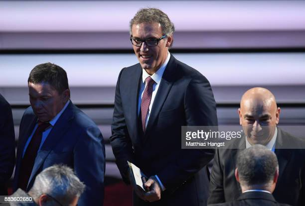 Draw assistant Laurent Blanc looks on during the Final Draw for the 2018 FIFA World Cup Russia at the State Kremlin Palace on December 1 2017 in...