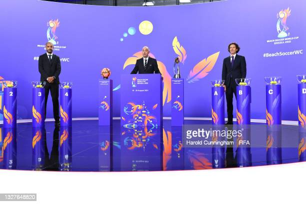 Draw Assistant Madjer, FIFA Tournaments Director and Draw Conductor Jaime Yarza and Draw Assistant Alexey Smertin during the FIFA Beach Soccer World...