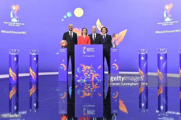 Draw Assistant Madjer, Presenter Emma Gadzhieva, FIFA Tournaments Director and Draw Conductor Jaime Yarza and Draw Assistant Alexey Smertin during...