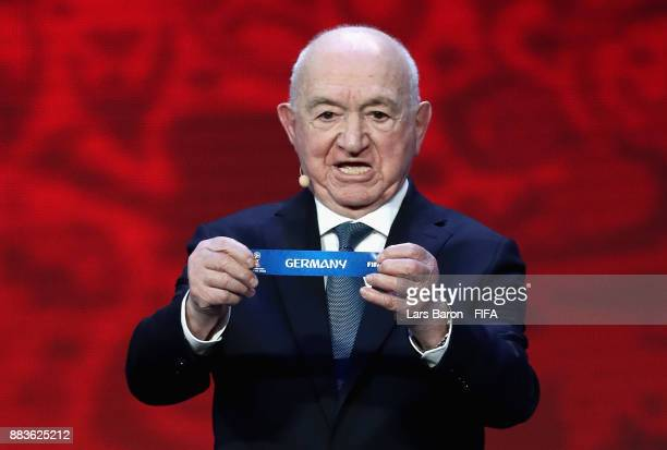 Draw assistant Nikita Simonyan draws Germany during the Final Draw for the 2018 FIFA World Cup Russia at the State Kremlin Palace on December 1 2017...