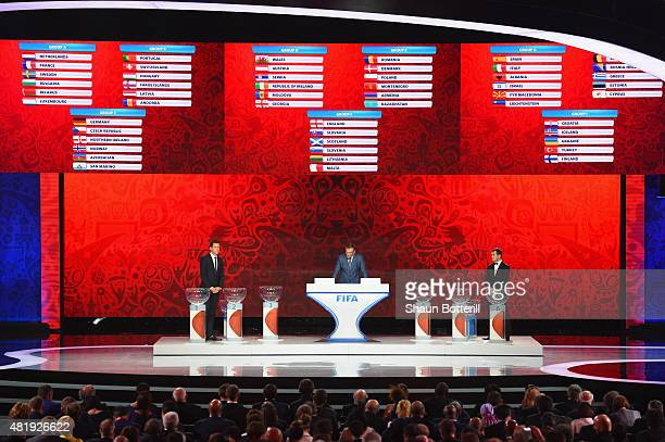 Draw assistant Oliver Bierhoff FIFA SecretaryGeneral Jerome Valcke and Draw assistant Alexander Kerzhakov during the European Zone Draw at the...