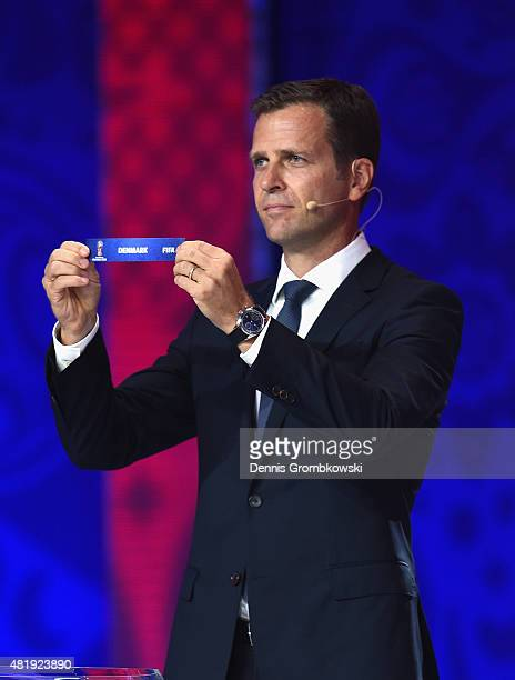 Draw assistant Oliver Bierhoff holds up the name Denmark during the European Zone draw at the Preliminary Draw of the 2018 FIFA World Cup in Russia...