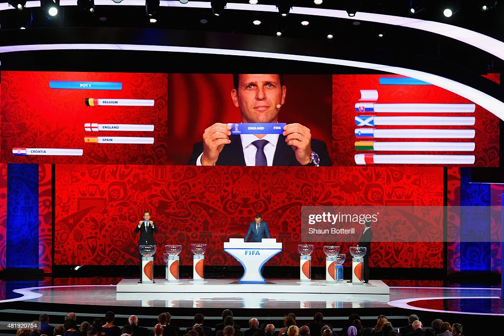 Draw assistant Oliver Bierhoff holds up the name England during the European Zone draw at the Preliminary Draw of the 2018 FIFA World Cup in Russia at The Konstantin Palace on July 25, 2015 in Saint Petersburg, Russia.