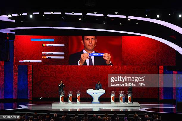 Draw assistant Oliver Bierhoff holds up the name England during the European Zone draw at the Preliminary Draw of the 2018 FIFA World Cup in Russia...