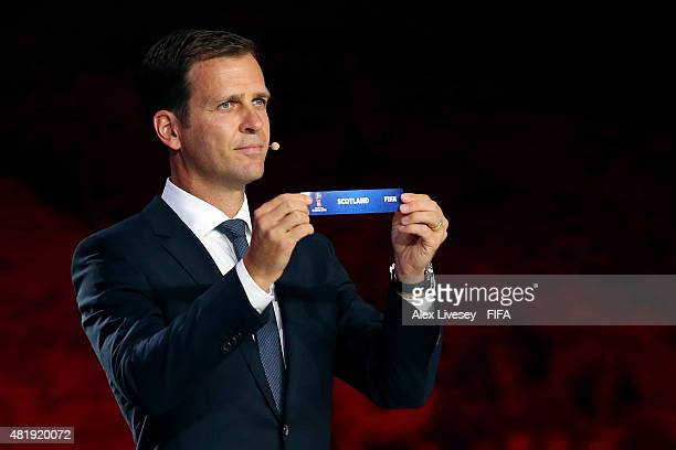 Draw assistant Oliver Bierhoff holds up the name Scotland during the European Zone draw at the Preliminary Draw of the 2018 FIFA World Cup in Russia...