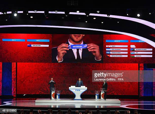 Draw assistant Predrag Rajkovic holds up the name New Zealand in the Oceanian draw during the Preliminary Draw of the 2018 FIFA World Cup in Russia...
